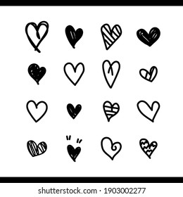 Heart vector. Set of love icon black hearts scribble. Hand drawn cartoon doodle design isolated on white background. Elements collection for Valentines. Vector illustration.