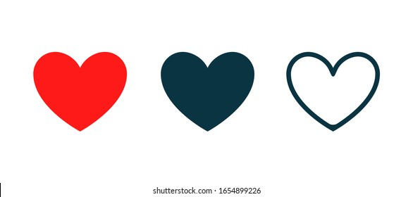 Heart vector shape love icon. Red heart set isolated abstract graphic collection symbol.