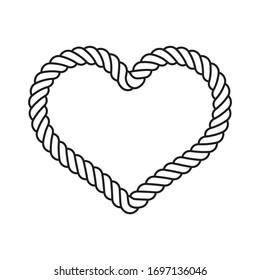 heart vector valentine icon lasso rope logo symbol cartoon character doodle illustration design