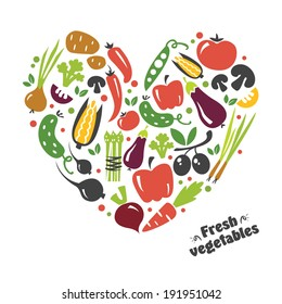heart vegetables set