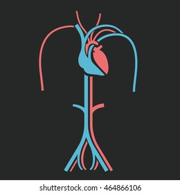 Heart and veins symbol. Useful for sign development, indographics, postcard, leaflet, brochure, print, book and poster graphic design. Beautiful vector illustation in pink and light blue colors.