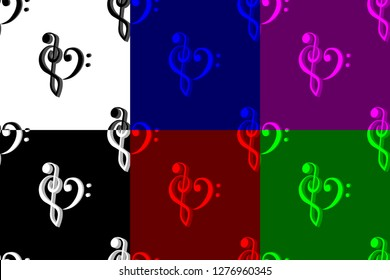 Heart - violin and bass clef - seamless pattern, Bass and treble clef, heart ( black, red, white, blue, purple, green ) background,
