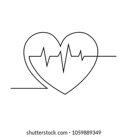 The heart with a visualization of heartbeat is drawn by a single line on a white background. Single line drawing. Continuous line. Vector Eps10