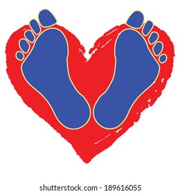 Heart Walk Two blue feet in front of a stylized red heart sketch