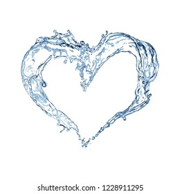 Heart from water. Water splash.  Heart. Vector Illustration.