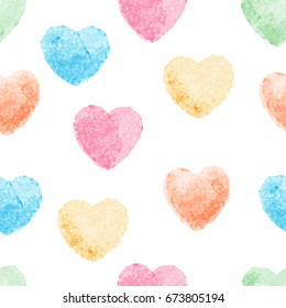Heart watercolor painting vector art and seamless background.