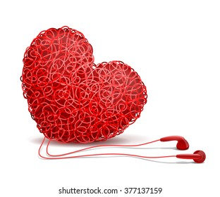 Heart weaved from variety of twisted red wires and earphones nearby, on white background. Listening to your heart concept