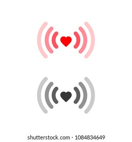 Heart wifi icon set. Vector heart connect icon in flat style. Heart signal. Love connection. Wifi hotspot signal. Love signal. Wifi sign.