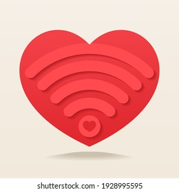 Heart with wifi signal. Heart signal. Love connection. Illustration vector