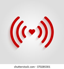 Heart wifi. Vector heart connection icon in flat style. Heart signal. Red wifi icon in flat style isolated on white background. Love connection. Wifi hotspot signal.  Love signal. Wifi signal. Sign