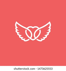Heart with wing logo. Modern vector illustration.