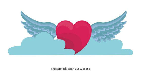 Heart with wings and clouds