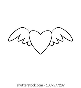 A heart with wings. Decorative element for Valentine's Day. A simple single outline design object is drawn by hand and isolated on a white background. Black and white vector illustration.Doodle style