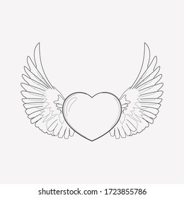 Heart with wings icon line element. Vector illustration of heart with wings icon line isolated on clean background for your web mobile app logo design.