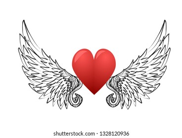heart and  wings isolated on white