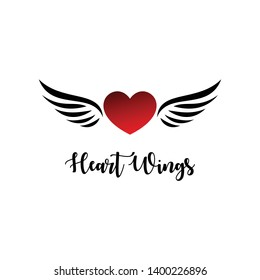 Heart with wings logo illustration