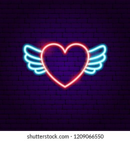Heart Wings Neon Sign. Vector Illustration of Love Promotion.