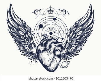 Heart and wings in space tattoo. Symbol of love, philosophy, psychology, imagination, dream
