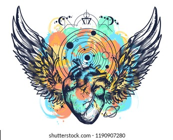 Heart and wings in space tattoo watercolor splashes style. Symbol of love, philosophy, psychology, imagination, dream. Surreal heart t-shirt art