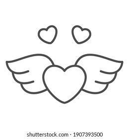 Heart with wings thin line icon, Valentines Day concept, symbol of love freedom on white background, flying heart icon in outline style for mobile concept and web design. Vector graphics.