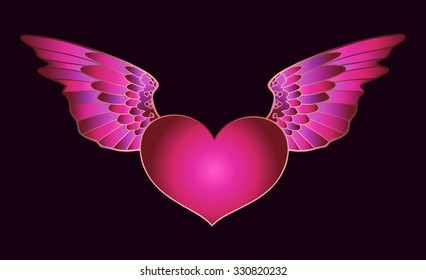 Heart with wings. Vector heart on dark background. Valentines Day card or decoration.
