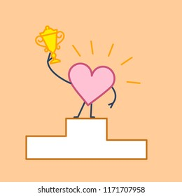 Heart winner. Vector concept illustration of best heart champion with golden goblet on winners platform | flat design linear infographic icon on orange background