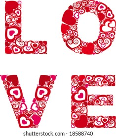 Heart in word the love
