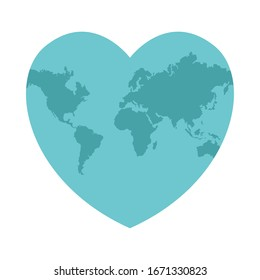 heart world planet earth isolated icon vector illustration design