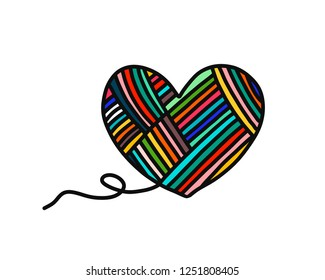 Heart of yarn wool hand drawn logo logotype for yarning project courses master classes tutorials video study teaching and learning knitting