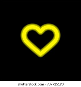 Heart yellow glowing neon ui ux icon. Glowing sign logo vector