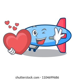 With heart zeppelin mascot cartoon style