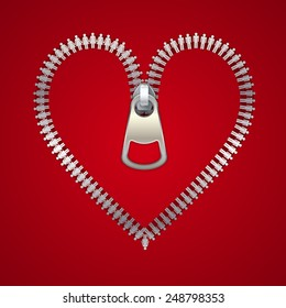 Heart with zipper, made of male and female icons, vector illustration