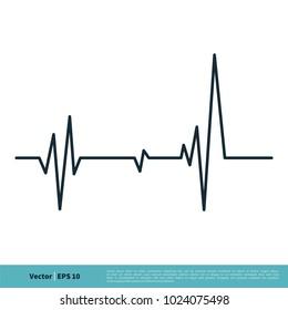 Heartbeat Cardiogram Icon Vector Logo Template