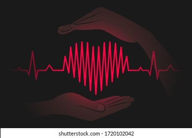 Heartbeat chart is shaped like heart symbol, hands are carefully protecting heart, over dark background. Care for health and cardiovascular system, concept of wellness, wellbeing, healthy lifestyle