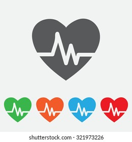 Heartbeat Echocardiography Cardiac exam Form of heart and heartbeat. colourful icon.