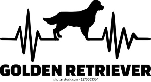 Heartbeat frequency with Golden Retriever dog silhouette