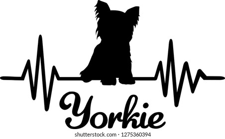 Heartbeat frequency with Yorkie dog silhouette