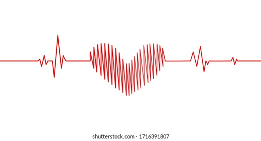 heartbeat graph pulse vector template.