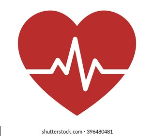 Heartbeat / heart beat pulse flat vector icon for medical apps and websites