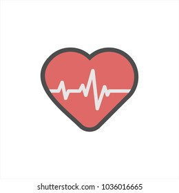 Heartbeat / heart beat pulse inside flat heart icon for medical apps and websites