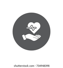 Heartbeat, heart in hand icon. Protection or care, medical service, accident insurance concept
