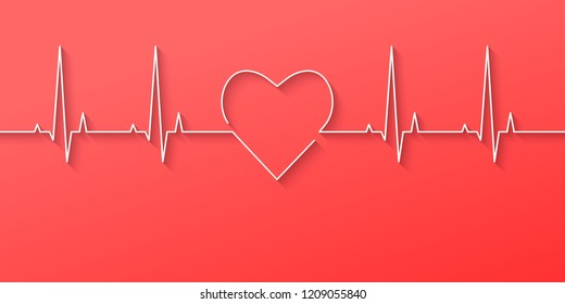 Heartbeat and heart rate line concept made in flat design on light red background. Vector illustration.