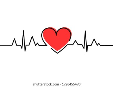 Heartbeat Heart Shape Centered Line. Heart beat. Heartbeat pulse flat vector icon. Vector illustration for medical offers and websites.