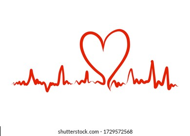 Heartbeat Heart Shape Centered Line. Heartbeat pulse flat vector icon. Vector illustration for medical offers and websites.Vector illustration eps 10.
