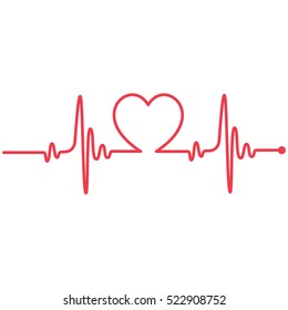 Heartbeat Heart Shape Centered Line