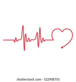 Heartbeat Heart Shape Line