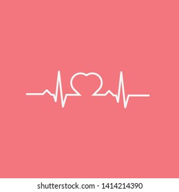 Heartbeat with a heart shape on a red background EPS Vector