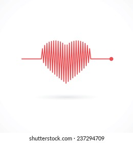 Heartbeat with Heart Shape - Valentine Heart Symbol