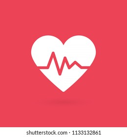 Heartbeat icon. Electrocardiogram, heart rhythm concept. Vector illustration, flat design
