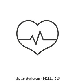 Heartbeat icon. Heart with pulse line. Vector illustration.